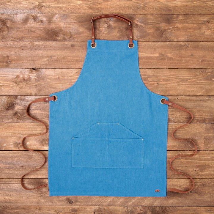 Tablier en Lin  N°173 - Bleu électrique